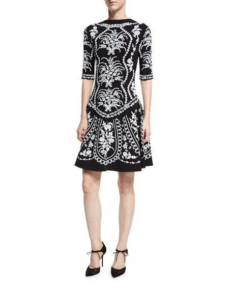 Oscar de la Renta Floral-Embroidered Fit & Flare