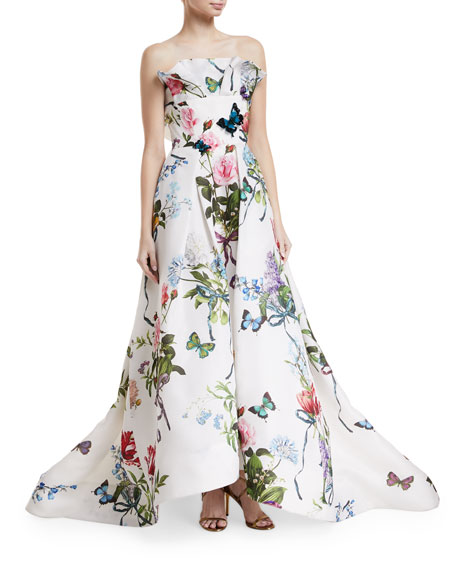 Monique Lhuillier Ruffle-Neck Floral-Print Evening Gown with