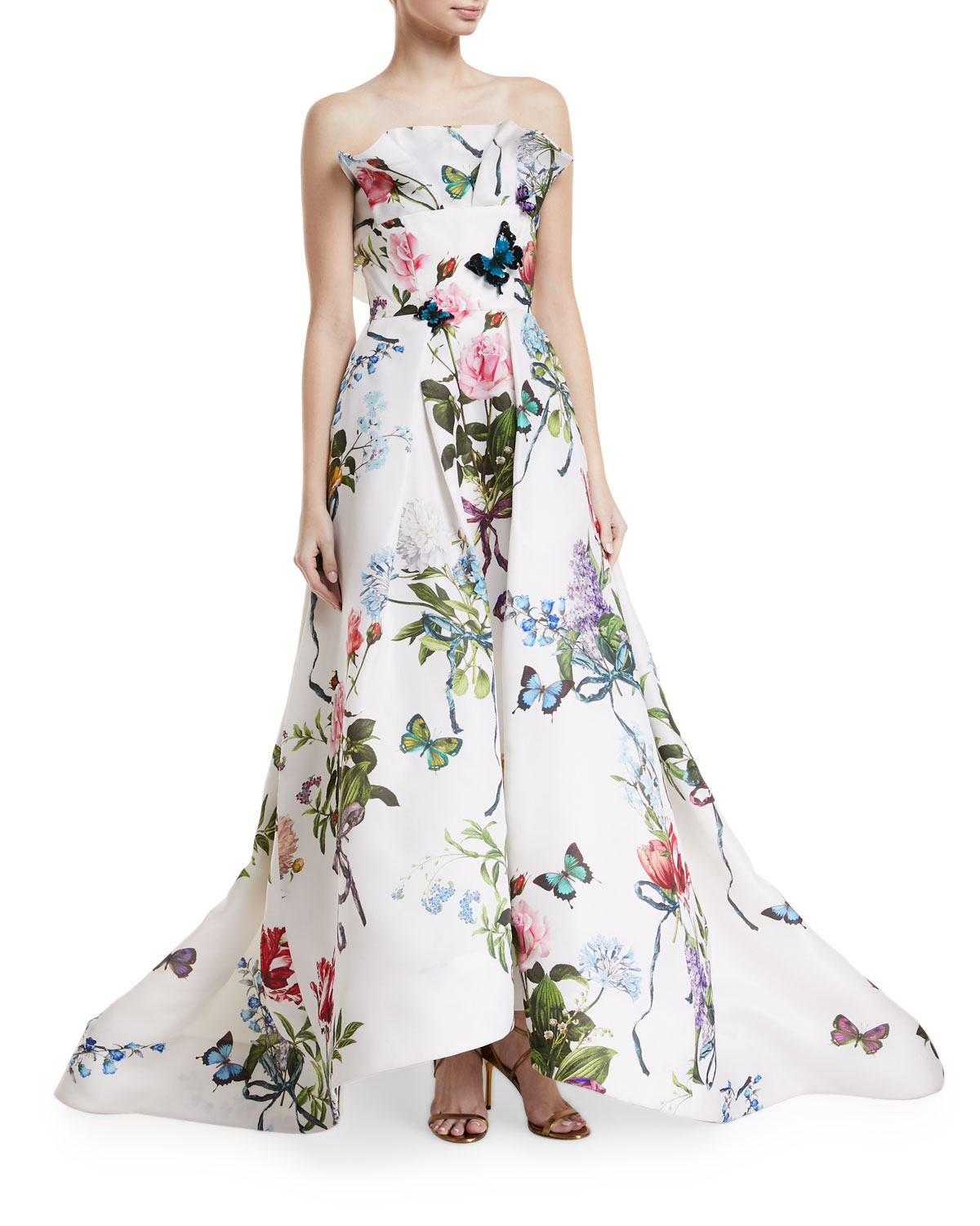Monique Lhuillier Ruffle-Neck Floral-Print Evening Gown with Train ...