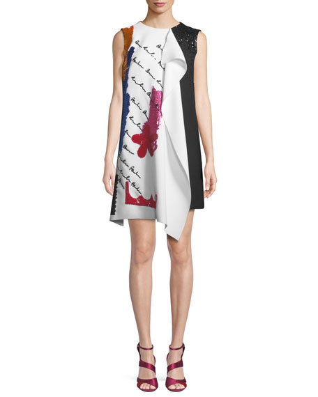 Oscar de la Renta Draped Embroidered Wool Cocktail