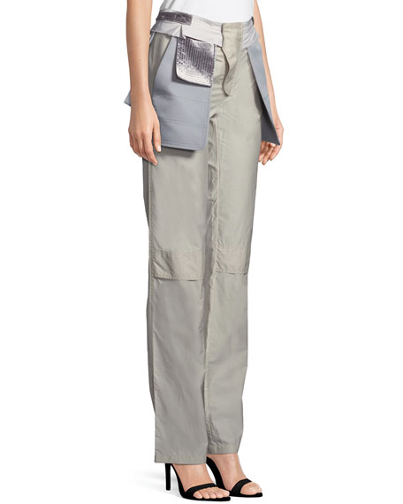 Inside-Out Pocket Techno Poplin Straight-Leg Pants