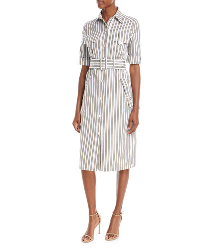 Button-Front Short-Sleeve Striped Utility Shirtdress