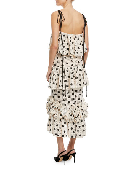 Florence Baker Polka-Dot Tiered Ruffled Cami-Strap Sun Dress