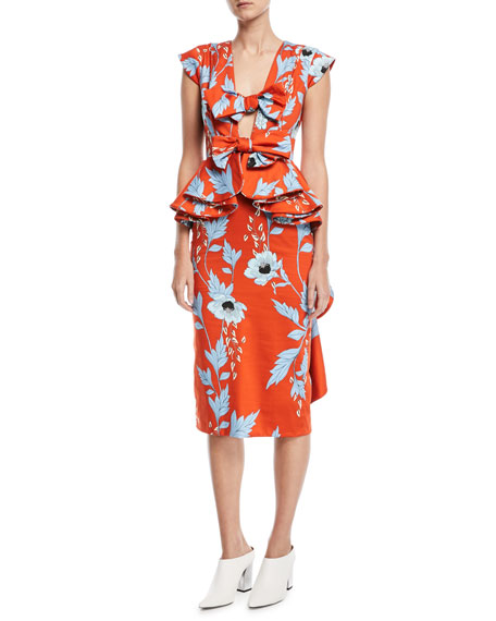 Johanna Ortiz Kalahari Bow-Front Peplum-Waist Garden-Print Dress