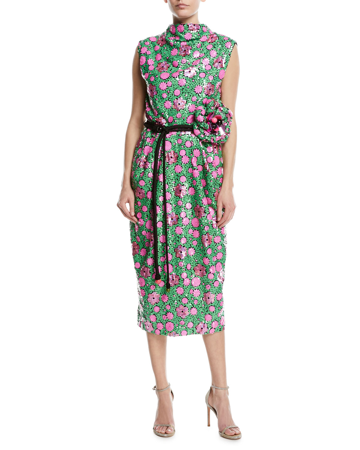 698bd4ad588 Marc Jacobs Sequined Floral Tie-Waist Cocktail Dress