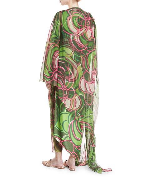 Silk Organza Asymmetric Printed Tunic & Pants