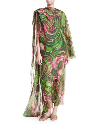 Silk Organza Asymmetric Printed Tunic & Pants