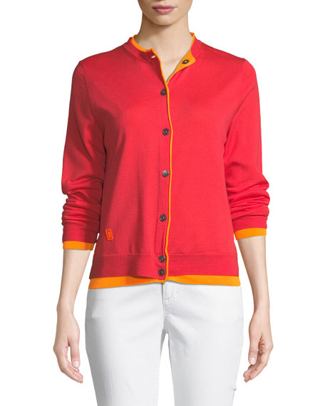 Button-Front Long-Sleeve Merino Wool Cardigan