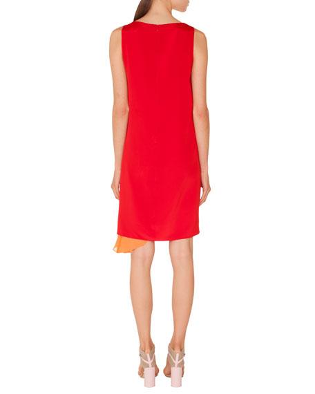 Round-Neck Sleeveless Silk Crepe Dress with Side Panel
