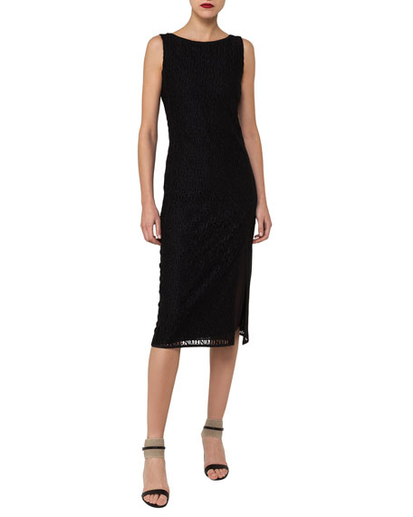Sleeveless Embroidered Sheath Dress with Side Slit