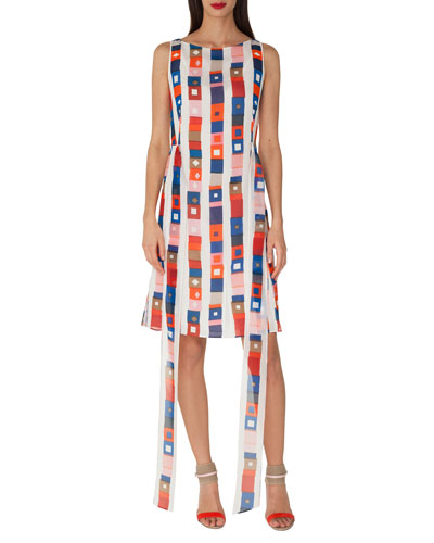 Sleeveless Super-Stripe Photo-Print Silk Carwash Dress