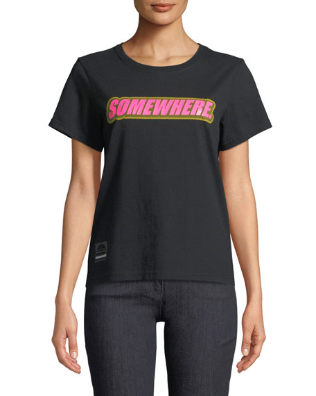 Marc Jacobs Short-Sleeve Crewneck Tee with Somewhere Graphic