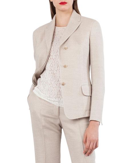 Akris Wool Cotton Pique 3-Button Blazer Jacket