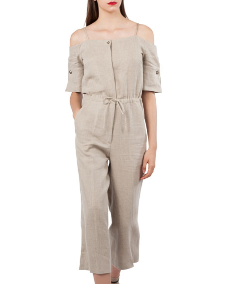 Open-Shoulder Elbow-Sleeve Lined Wide-Leg Jumpsuit