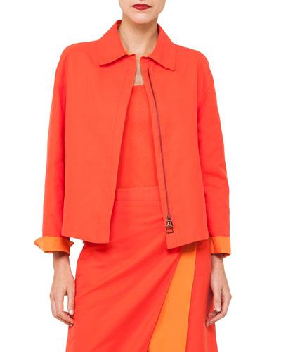 Natalie Zip-Front Double-Face Bicolor Cotton Jacket