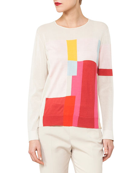 Akris Crewneck Long-Sleeve Mural-Print Top and Matching Items