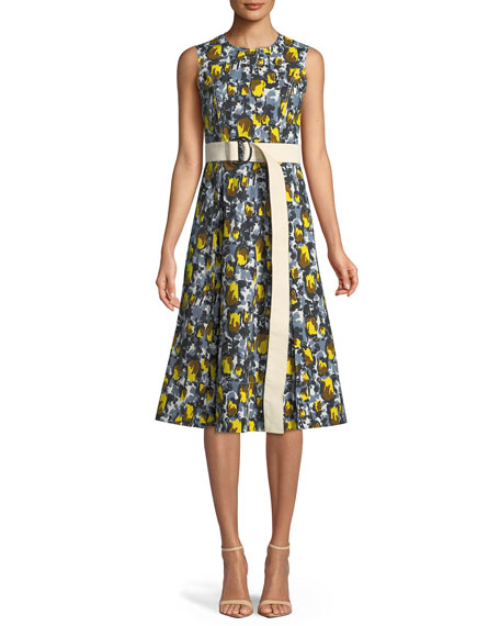 Marni Sleeveless Rose-Print A-Line Cotton Woven Dress