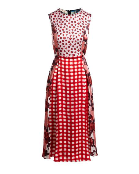 Sleeveless Mixed-Print Patchwork Silk Ankle Dress