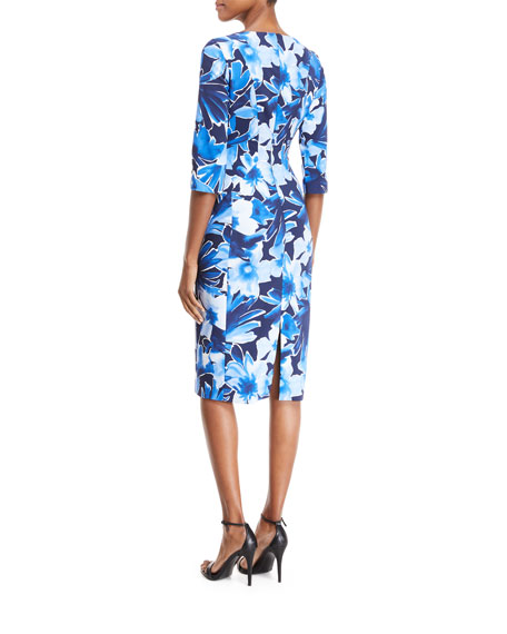 Floral 3/4-Sleeve Sheath Dress