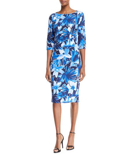 Floral 3/4 Sleeve Sheath Dress by Michael Kors Collection