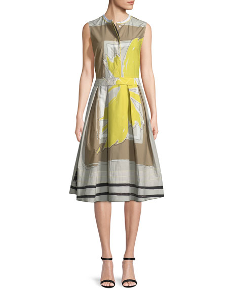 Piazza Sempione Sleeveless Graphic-Print Dress with Full Skirt