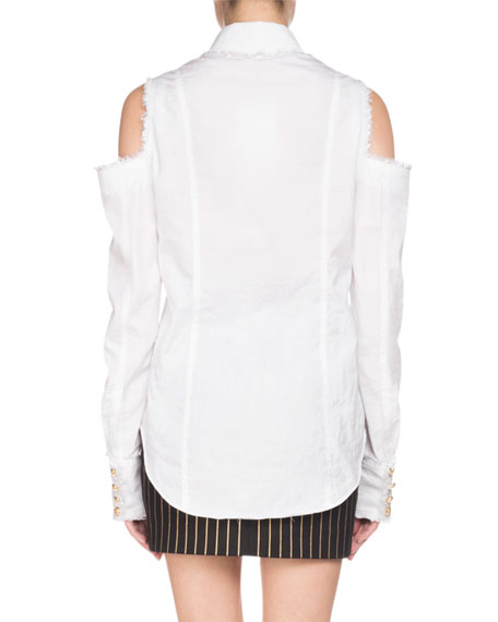 Long-Sleeve Cold-Shoulder Frayed Blouse