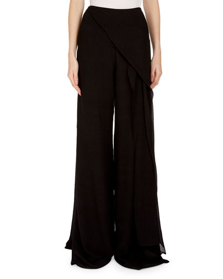 Farnley Wide-Leg Side-Drape Textured Silk Pants
