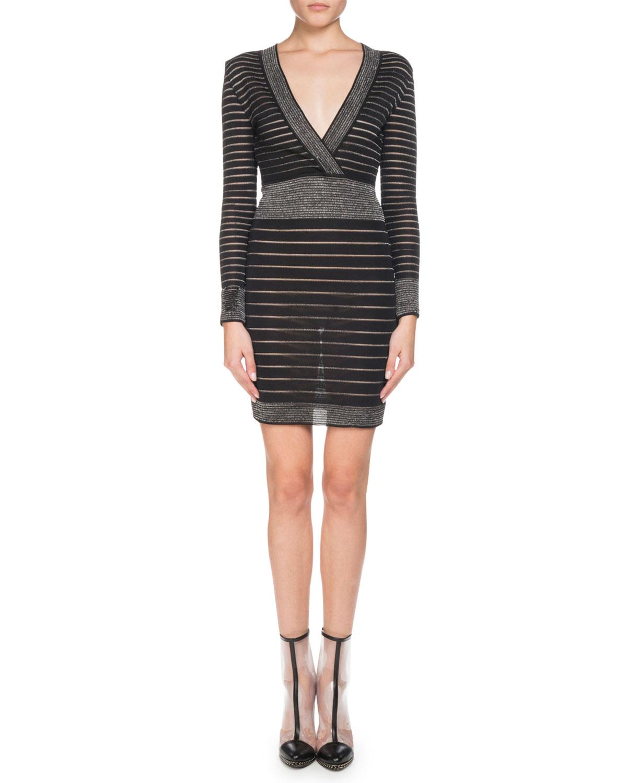 330098ae17d9 Balmain Long-Sleeve Deep V-Neck Striped Knit Cocktail Dress | Neiman ...