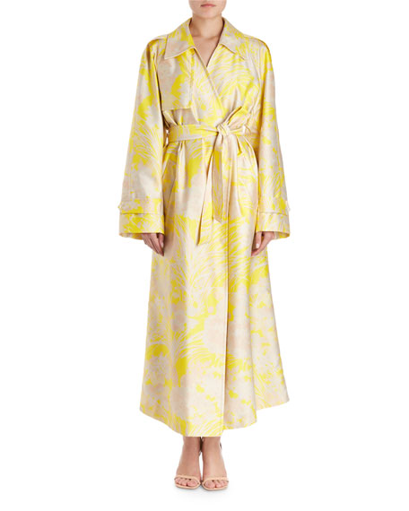 Dries Van Noten Ronchi Oversized Floral-Print Trench Coat
