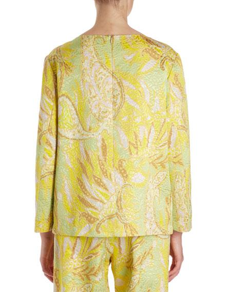 Carmel Long-Sleeve Floral Brocade Blouse w/ Pin Jewels