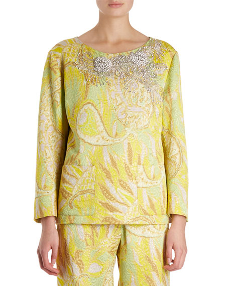 Dries Van Noten Carmel Long-Sleeve Floral Brocade Blouse