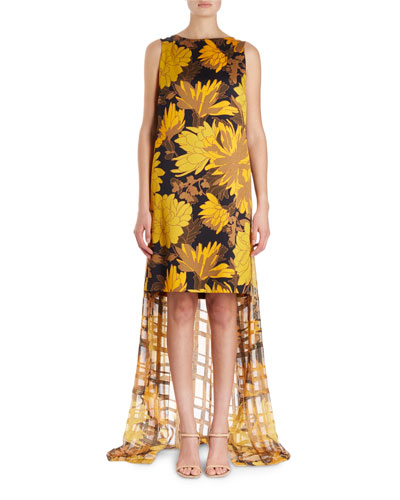 Domy Sleeveless Short Floral Dress w/ Lurex Chiffon Back Drape