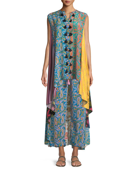 Iman Patchwork-Print Sleeveless A-Line Tunic Dress
