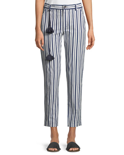 Zuri Straight-Leg Striped Crop Cotton Pants