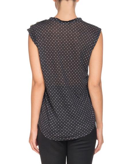 Sleeveless 3-Button Logo-Print T-Shirt
