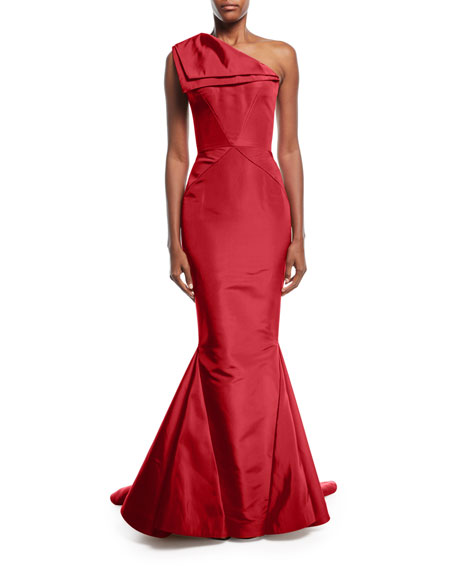 Zac Posen One-Shoulder Fold-Over Silk Faille Evening Gown