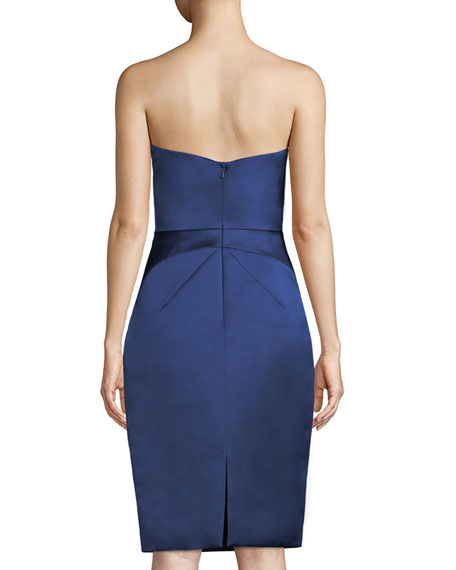 Double-Face Duchess Satin Folded-Bustier Strapless Cocktail Dress