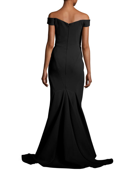 Bonded Crepe Plunging Evening Gown