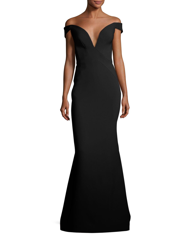 Zac Posen Bonded Crepe Plunging Evening Gown   Neiman Marcus