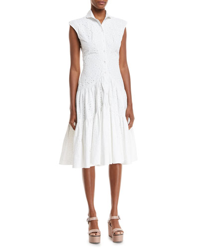 Sleeveless Button-Front Fit-and-Flair Eyelet Shirtdress