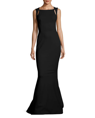 Sleeveless Cutout-Shoulder Bondage Jersey Evening Gown
