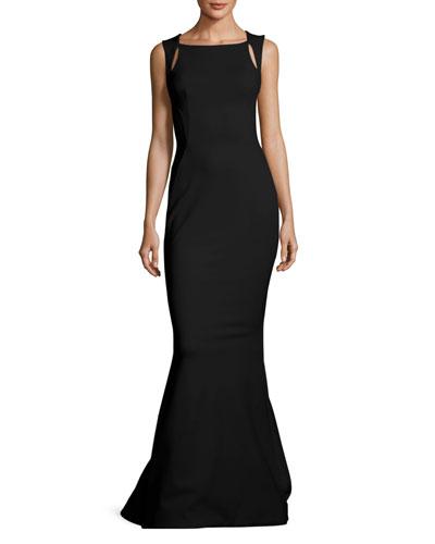 Sleeveless Cutout-Shoulder Bondage Jersey Evening Gown