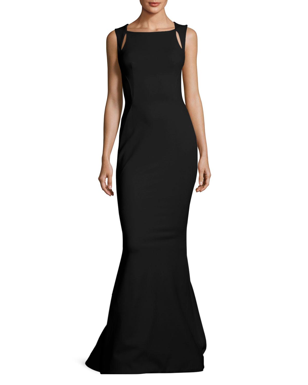 Zac Posen Sleeveless Cutout-Shoulder Bondage Jersey Evening Gown ...