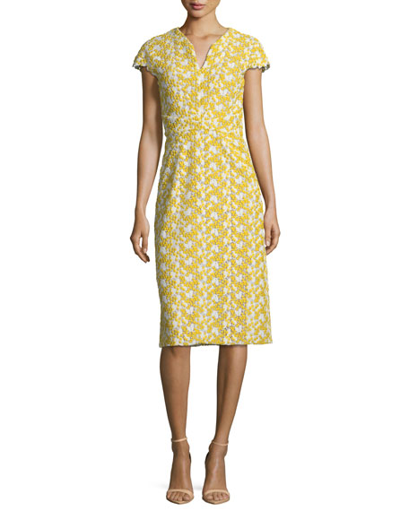 Mimosa Lace-Guipure Cap-Sleeve Sheath Cocktail Dress