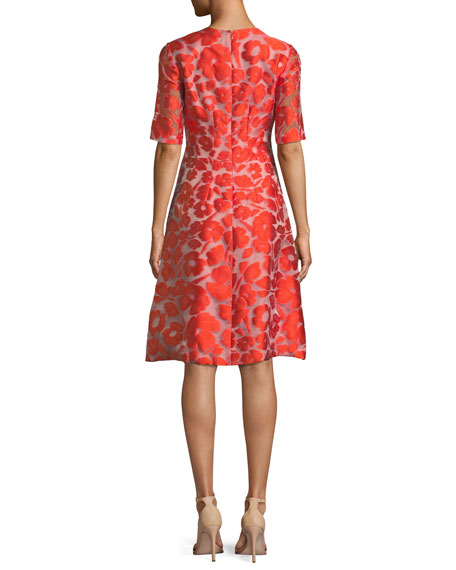 Holly Elbow-Sleeve Fit-and-Flare Jacquard Dress