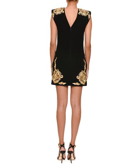 Jewel-Neck Sleeveless Shoulder-Pad Sheath Dress with Embroidery