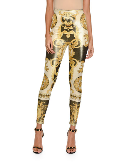 Metallic Baroque-Print Leggings
