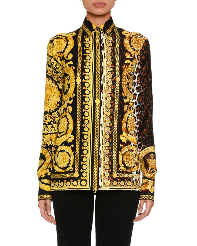 Versace Baroque Leopard Print Button Front Silk Twill