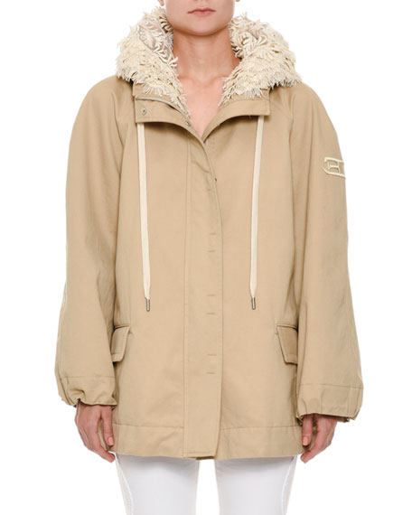 Ermanno Scervino Zip-Front Cotton Taffeta Hooded Parka Jacket