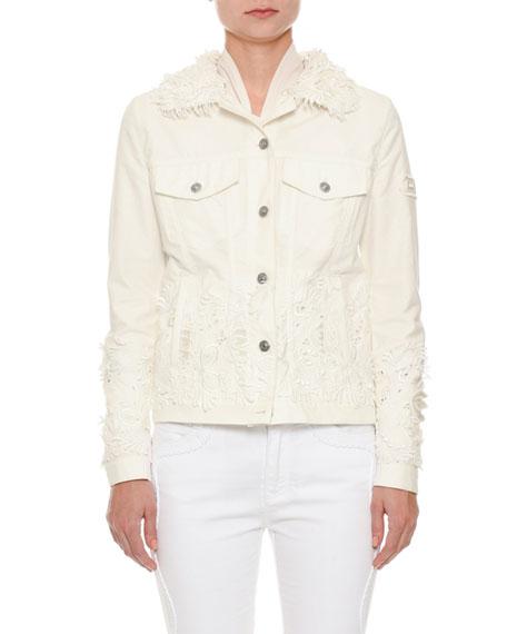 Button-Front Floral-Eyelet Denim Jacket